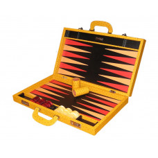 Backgammonspel Elegant XL Äkta läder i lejongult