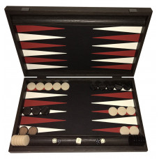 Backgammon Set in Wood & Leatherette Strogyli L