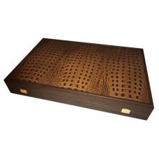 Backgammonspel i äkta läder och hevea-trä Grambousa L