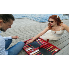 Backgammon Board Elegant XL Genuine Leather in Red
