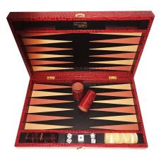 Backgammon-set Deluxe L Äkta läder i rött