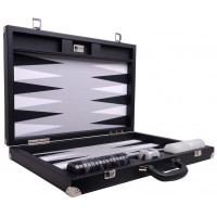 Backgammon Set XL Wycliffe Brothers Masters Black Linen-leather Case Gray Field