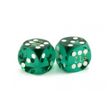 Numbered Backgammon precision dice in Green 13 mm