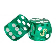 Las Vegas Backgammon precision dice in Green 14 mm