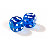 Official backgammon precision dice 13 mm Blue