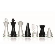 Schackpjäser i modern stil Silver Glossy 75 mm