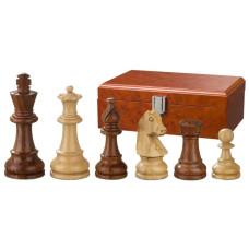 Schackpjäser Sigismund handsnidade i trä 95 mm