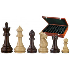Schackpjäser handsnidade i trä 105 mm Justitian