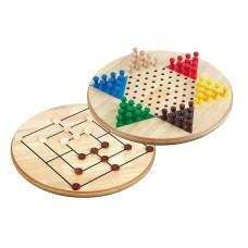Kinaschack & kvarnspel XL Dubbelsidig skiva i trä