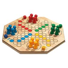 Fiaspel / Ludo Hexagon, Hevea-trä XL